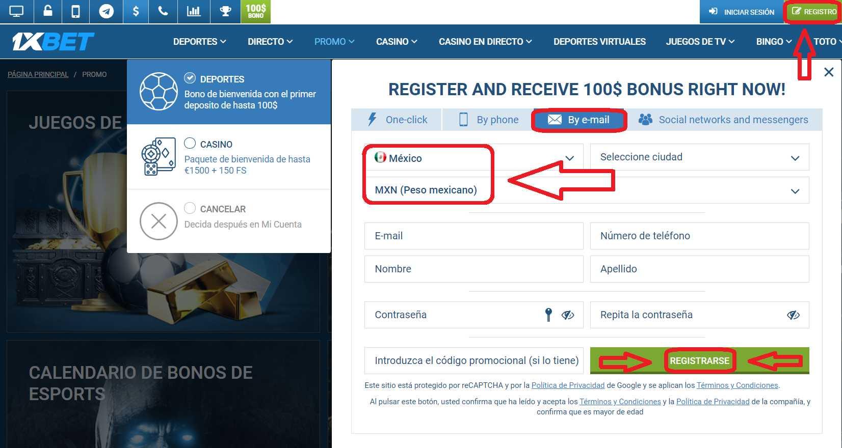 1xBet México register